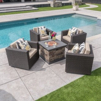 Wade Logan Furst Modern 5 Piece Rattan Seating Group with Cushions Frame Color: Dark Brown