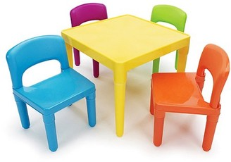 Tot Tutors Kids Plastic Table and 4 Chairs Set, Multiple Colors