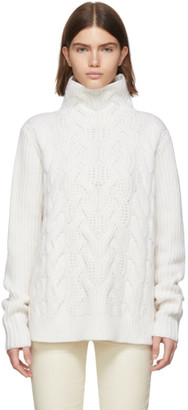 Helmut Lang White Wool Cable Turtleneck