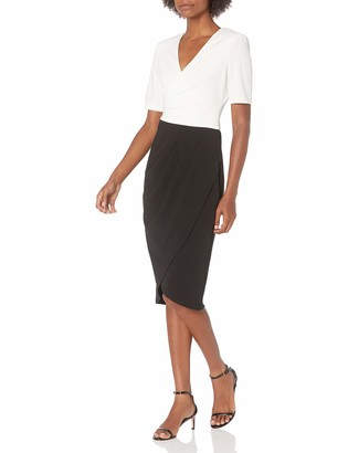 Adrianna Papell Women's Knit Crepe Colorblocked Dress