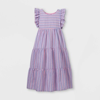 Cat & Jack Girls' Tiered Striped Woven axi Short Sleeve Dress - Cat & JackTM