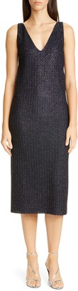 St. John V-Neck Metallic Texture Knit Beaded Dress