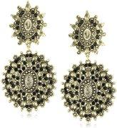 Yochi Black-Stone Gold-Plated Drop Earrings