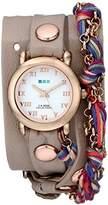 La Mer Women's LMCW9006 Rose Gold-Tone and Fuchsia Friendship Bracelet Wrap Watch