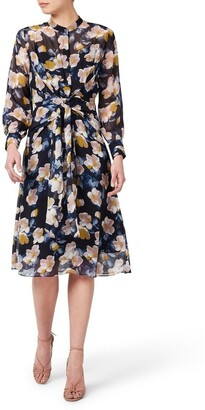 David Lawrence Keiko Tie Front Silk Dress