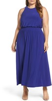 Vince Camuto Jersey Smocked Waist Maxi Dress (Plus Size)