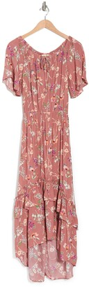Love Stitch Floral Off-the-Shoulder Ruffled High/Low Maxi Dress