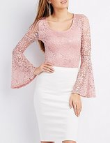 Charlotte Russe Lace Bell Sleeve Crop Top