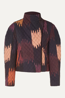 Isabel Marant Bonny Cropped Quilted Printed Cotton-twill Jacket - Dark purple