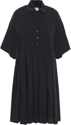 Carven Pleated Silk Mini Shirt Dress