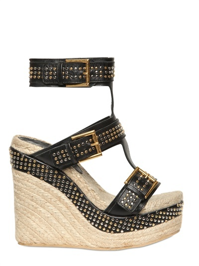 Alexander McQueen 130mm Studded Leather Buckled Wedges