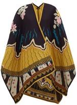 Etro Floral-jacquard Wool-blend Shawl - Womens - Black Multi