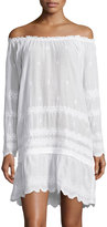 Calypso St. Barth Gloriana Embroidered Long-Sleeve Dress, White