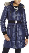 Andrew Marc Belted Real Fur Trim Down Coat