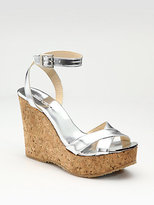 Mirrored Leather & Cork Wedges