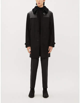 The Kooples Shearling-trim wool-blend coat