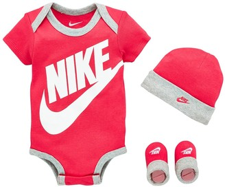 Nike Younger Futura Logo Hat,Bodysuit andBooties 3-Piece Set - Pink