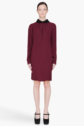 Marni Burgundy Draped Cady Collared Dress