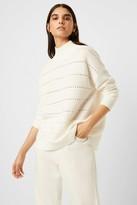 French Connenction Liliya Mozart Knit Lace Stripe Sweater