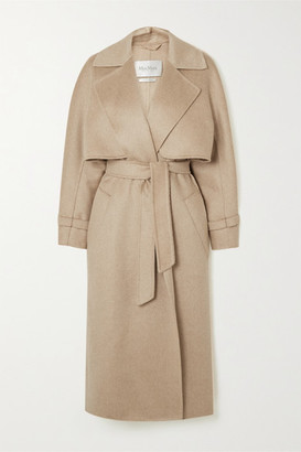 Max Mara Convertible Belted Camel Hair And Cashmere-blend Coat - Beige