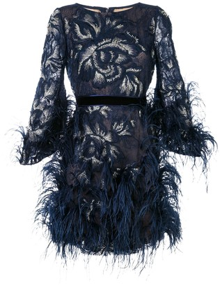 Marchesa fringe floral dress
