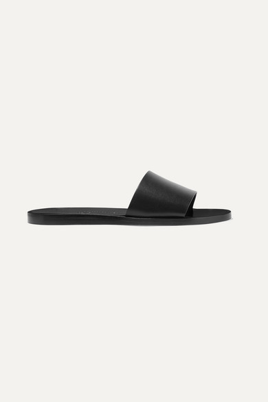 Common Projects Leather Slides - Black
