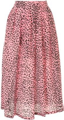 Être Cécile Animal Print Silk Skirt
