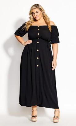 City Chic Tropical Tie Maxi Dress - black