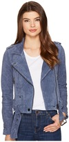 Blank NYC Suede Moto Jacket in Slate Blue Women's Coat