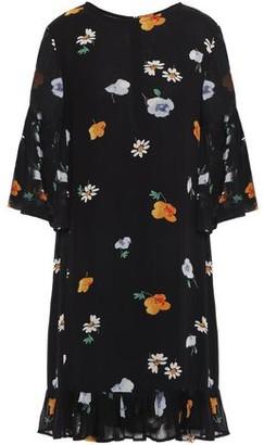 Ganni Dainty Ruffle-trimmed Printed Georgette Dress