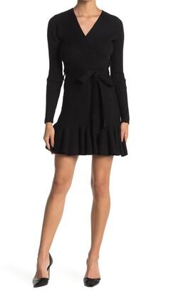 A.Calin Wrap Tie Rib Knit Sweater Dress