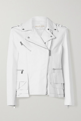 Michael Kors Ruffled Leather Biker Jacket - White
