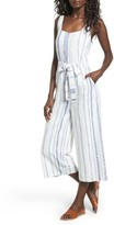 J.o.a. Women's Crop Stripe Cotton Jumpsuit