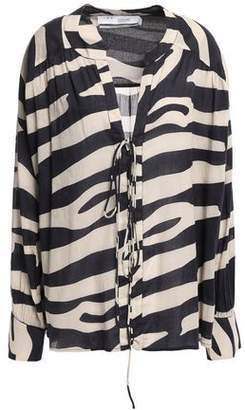 IRO Rattle Zebra-print Cotton-mousseline Blouse
