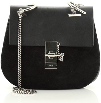 Chloé Drew Crossbody Bag Leather and Suede Small