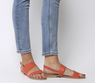 Office San Antonio Two Part Sandal Coral Leather