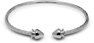 Curata Sterling Silver Small Arrow End Cap Cable Children's Adjustable Cuff Bangle Bracelet