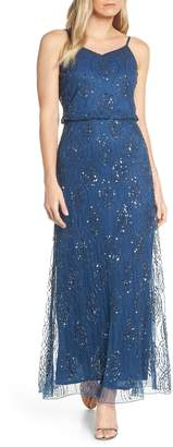 Pisarro Nights Bead Embellished Blouson Evening Gown