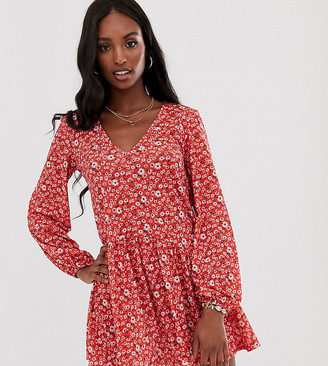 Asos DESIGN Tall mini textured smock dress in floral print