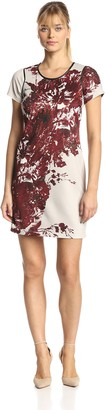 Andrew Marc Women's Short Sleeve Floral Printed Shift Dress