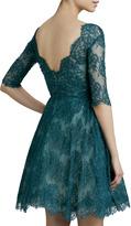 Monique Lhuillier Lace Ruched Cocktail Dress