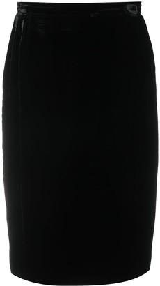 Valentino Pre-Owned 1980s Velvet Effect Straight-Fit Skirt