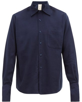 Marrakshi Life - Cotton-blend Flannel Shirt - Mens - Navy