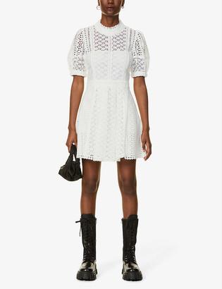 Self-Portrait Broderie cotton midi dress