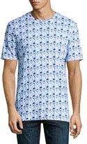 Robert Graham Die Hard Skull-Print Short-Sleeve T-Shirt, Blue/White