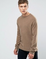 Asos Lightweight Lambswool Rich Jumper With Rib