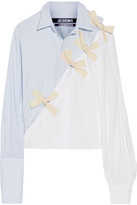 Jacquemus Bow-embellished Cotton Oxford And Poplin Shirt - Sky blue