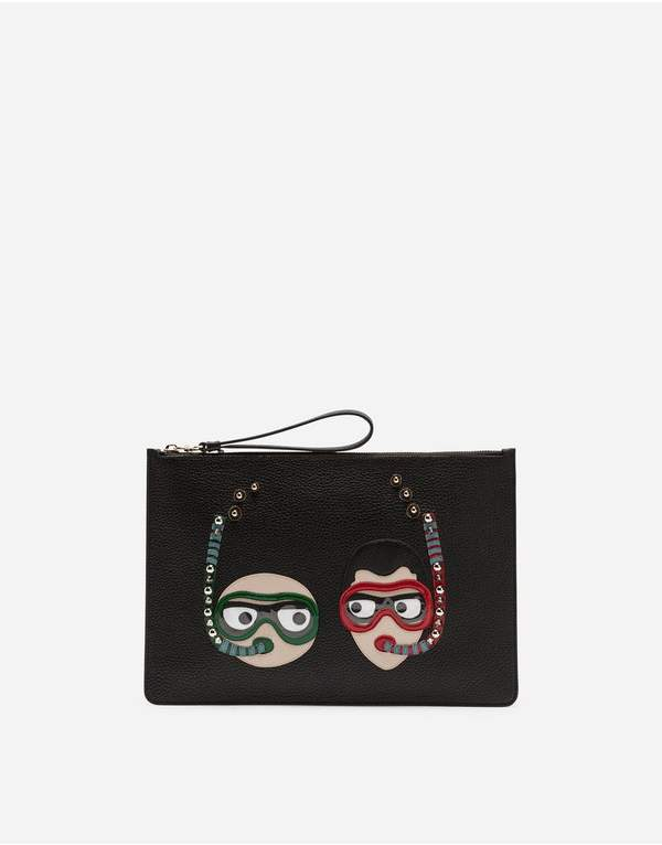 Dolce & Gabbana Dauphine Calfskin Clutch With Patches Of The Designers