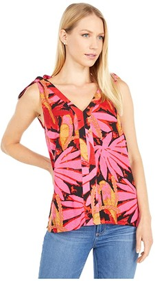 J.Crew Bruna Tie Shoulder Top in Antigua Leaves (Pink/Red) Women's Clothing