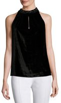 Ramy Brook Miranda Velvet Sleeveless Top, Black